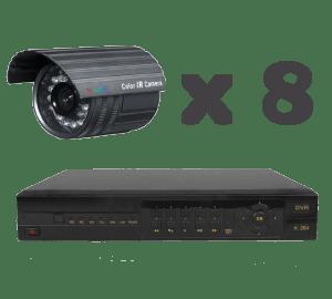 Kit 8 x cámaras videovigilancia